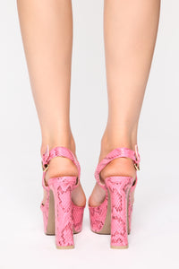 You Wish You Could Heeled Sandals - Neon Pink Snake