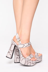 You Wish You Could Heeled Sandals - Black Snake