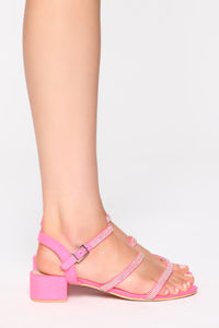 Tired Of You Heeled Sandals - Neon Pink