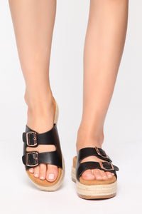 Take A Look Flat Sandals - Black Angle 2