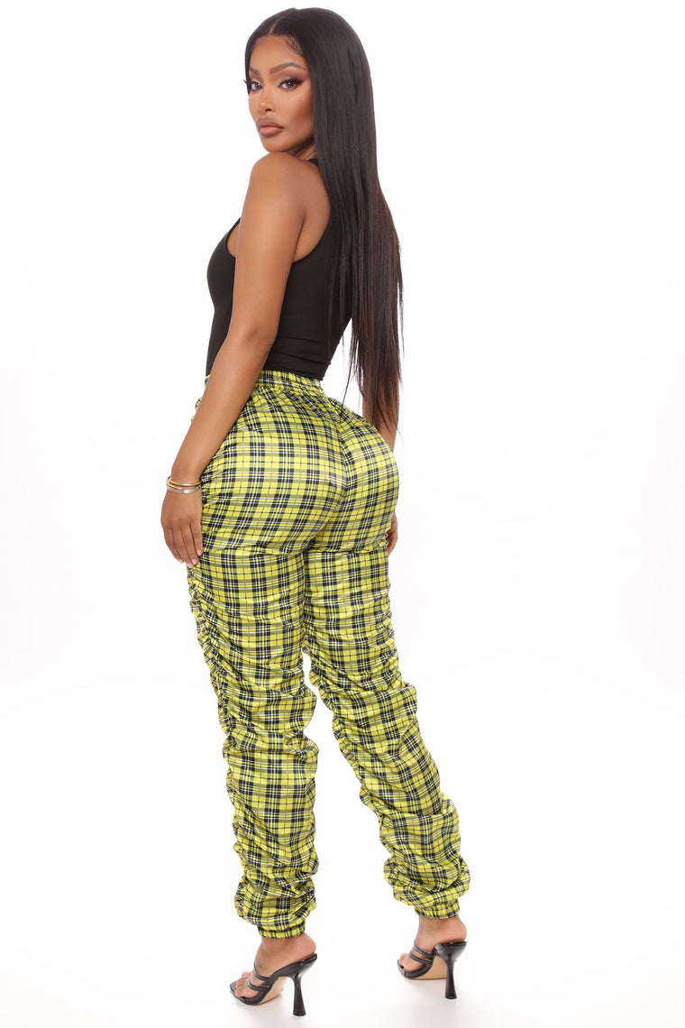 Plaid You For Fool Joggers - Yellow/combo