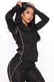 Straight To The Point Active Jacket And Legging Set - Black/combo