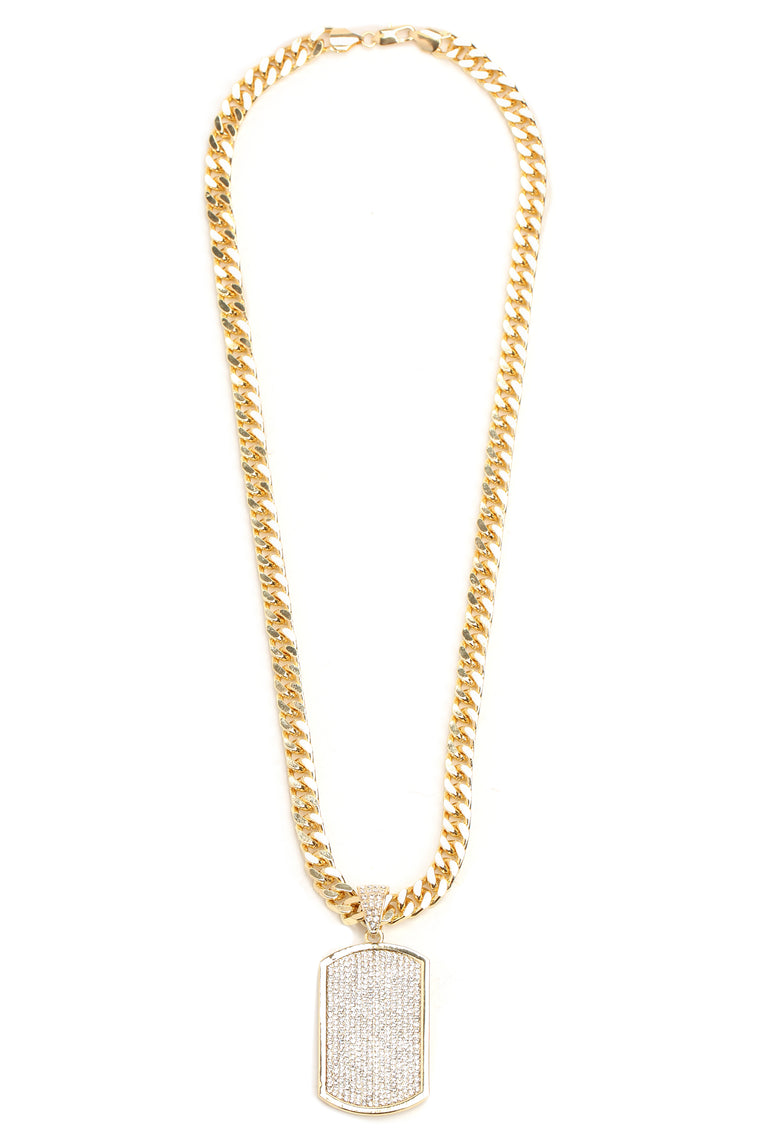 "Dog Tag 30"" Chain Necklace - Gold"