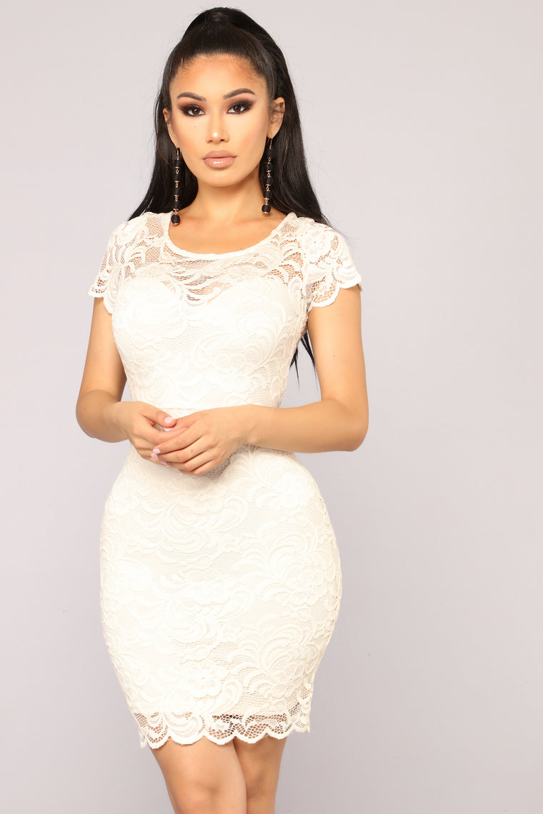 Cassi Lace Dress - Nude