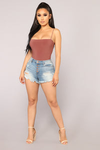 Don't Be So Square Bodysuit - Red Brown