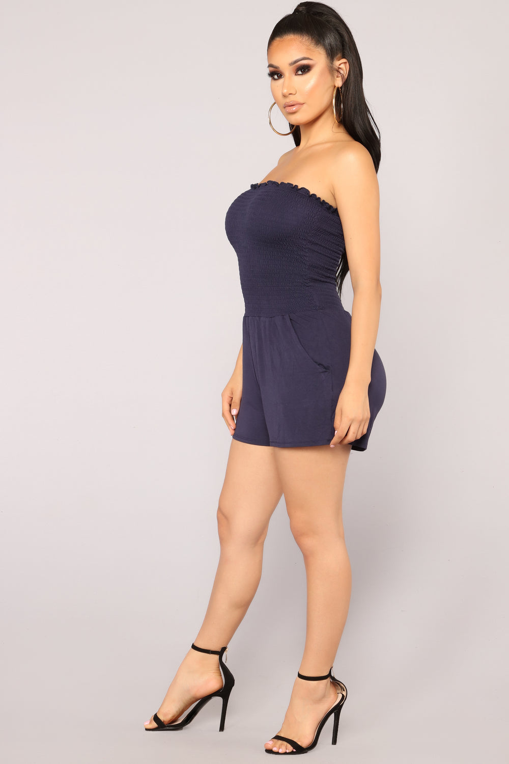 Atlast Smocked Romper - Navy