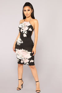 Like A Rose Midi Dress - Black