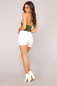 I'm The Girlfriend Halter Bodysuit - Olive