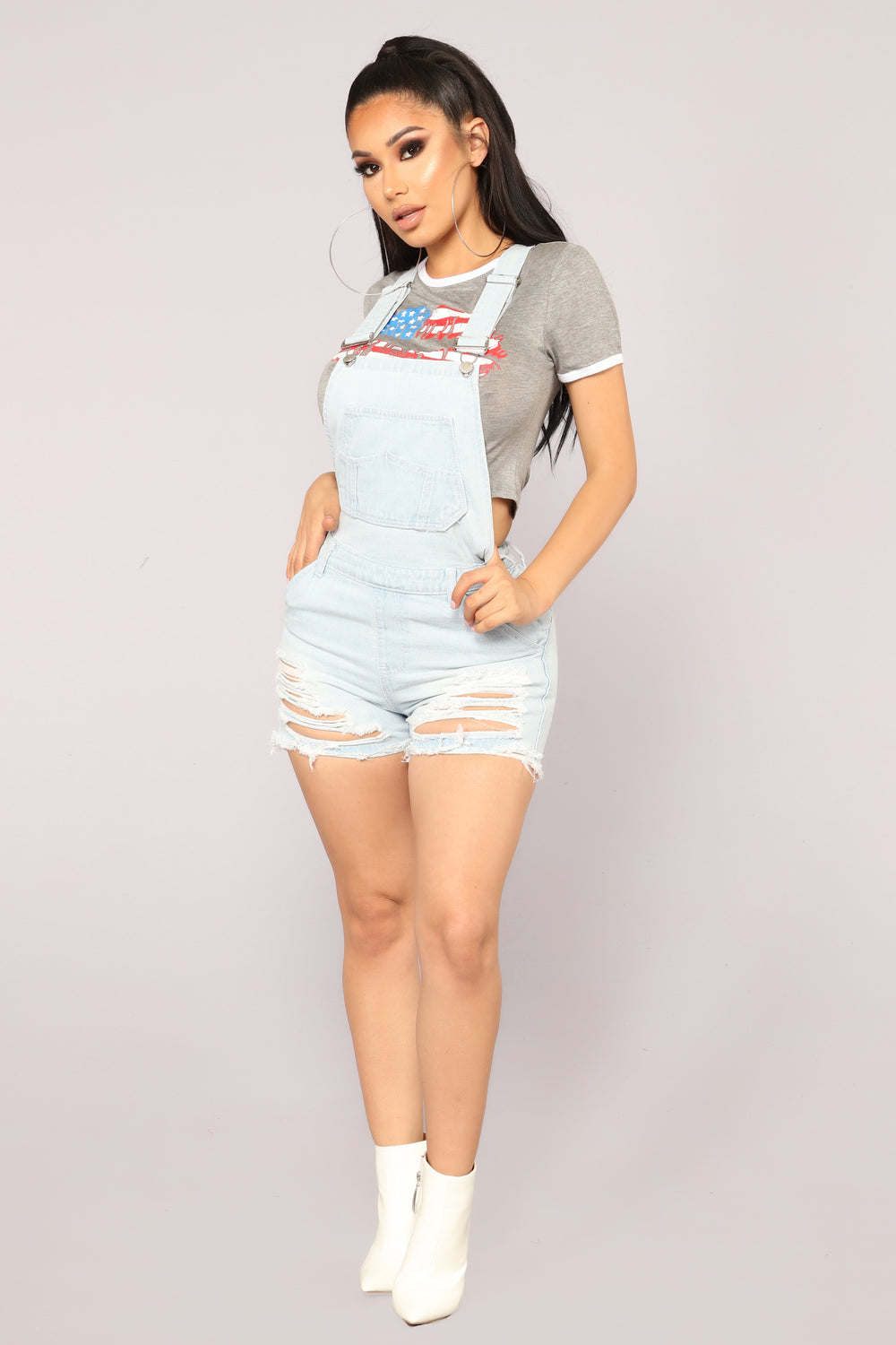 Cali Denim Shortalls - Light Blue Wash