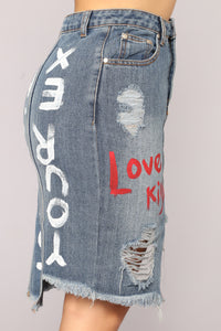 Love's Kiss Denim Skirt - Medium Blue Wash