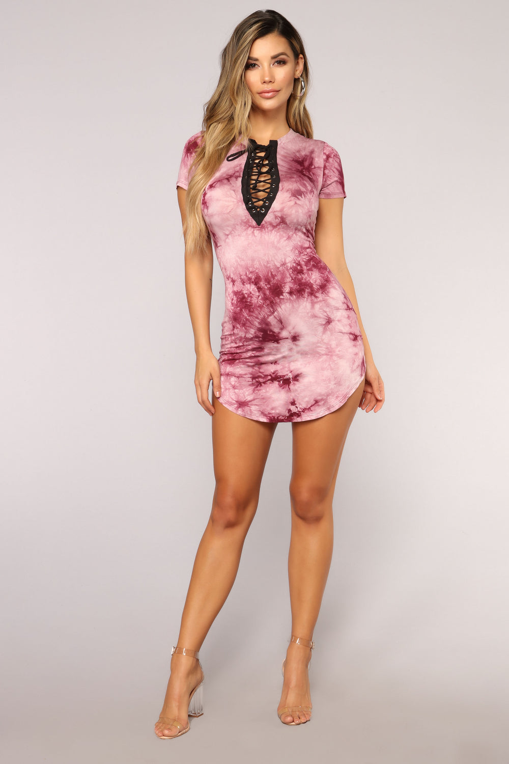 Summer Tie Dye Dress - Burgundy