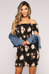 Grow With It Floral Dress - Black