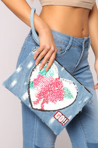 Doreena Denim Clutch - Denim