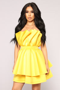 I Want My Way Ruffle Dress - Yellow