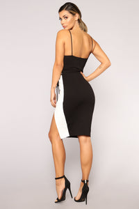 Two Faced Color Block Dress - Black/White