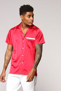 Paradise Bowling Short Sleeve Woven Top - Red Angle 1