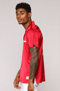 Paradise Bowling Short Sleeve Woven Top - Red Angle 4