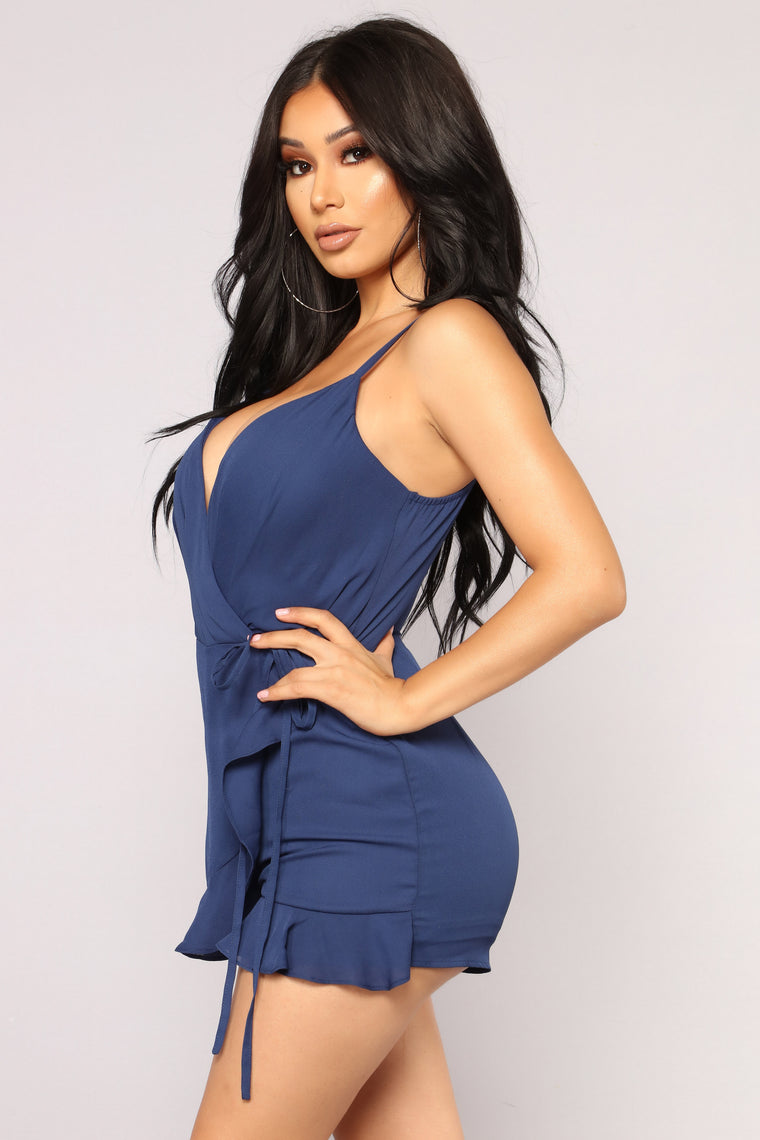 Clear The Air Wrap Romper - Navy