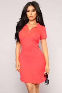 Back Swing Polo Dress - Neon Coral