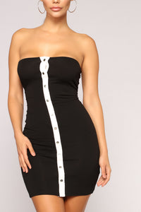 Snapped Tube Dress - Black