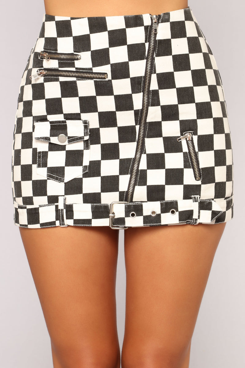 Checkerboard Chick Moto Skirt - Black/White