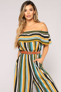 Down For You Jumpsuit - Mustard Multi