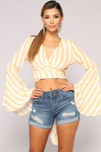 Dancing In Tulum Long Sleeve Top - Mustard/Combo
