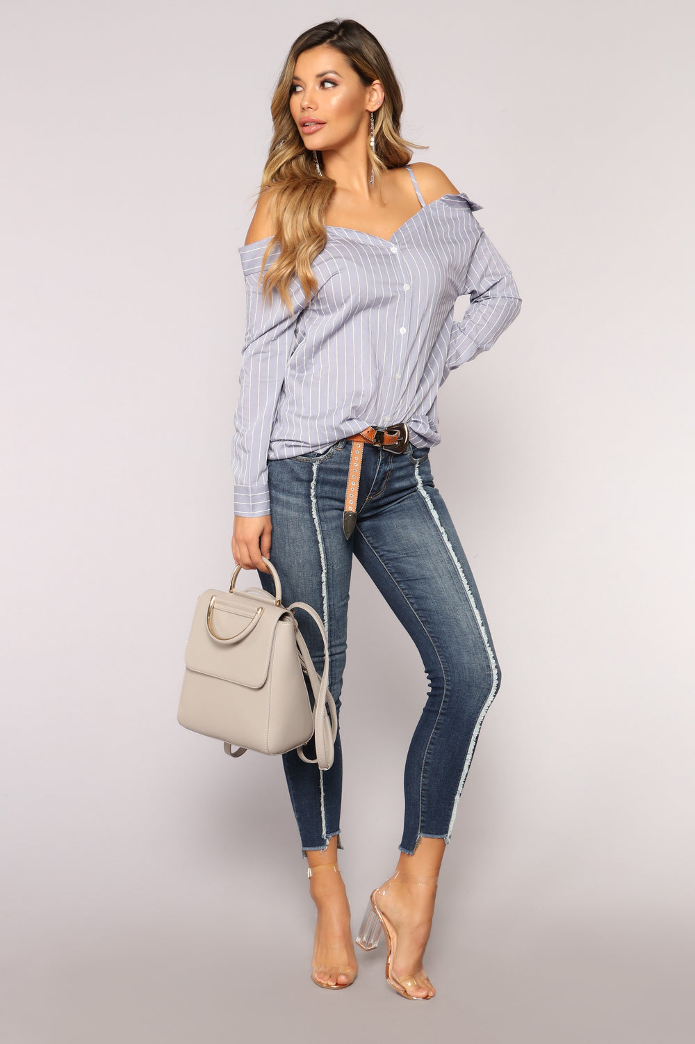 She's The Coolest Stripe Top - Blue