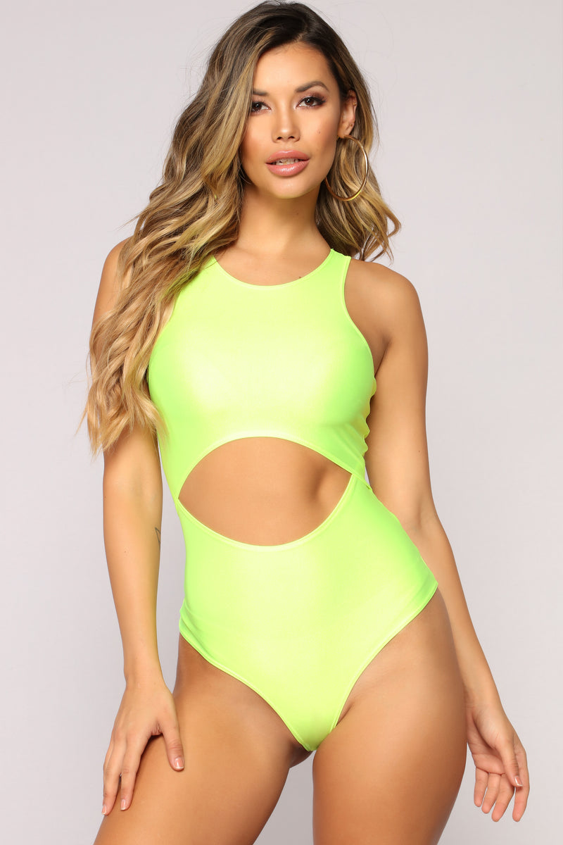 Zoey Cut Out Bodysuit - Neon Yellow