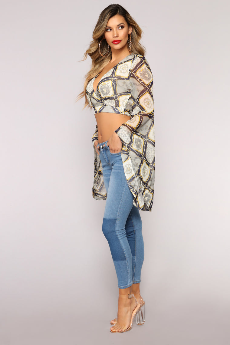 Broken Chains Broken Hearts Top - Navy/Grey