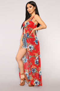 Hot Tropic Maxi Top - Red/Combo