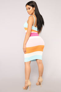 Focus On Me Stripe Dress - Orange Multi