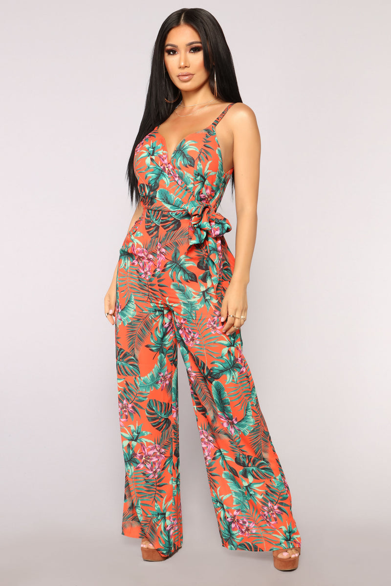 More Love Tropical Jumpsuit - Orange/Green