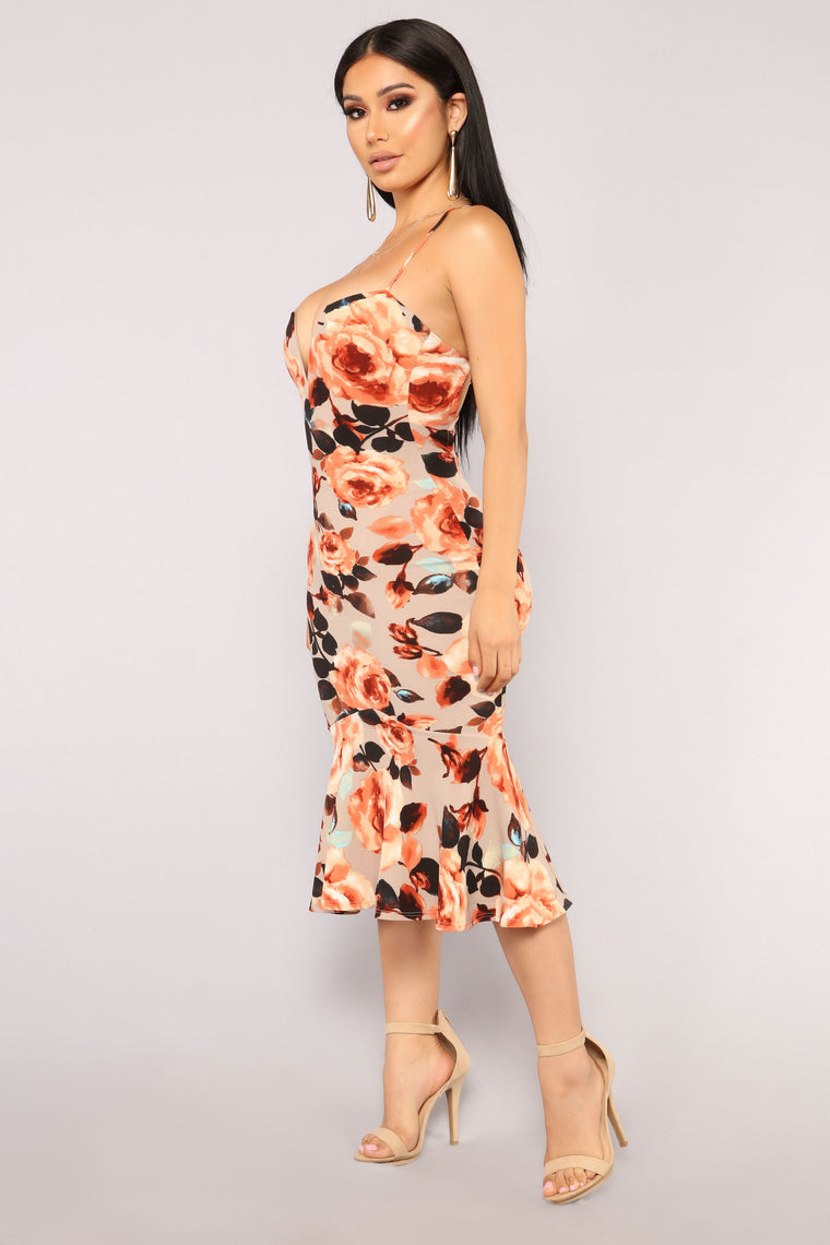 Love 'Em All Floral Dress - Beige