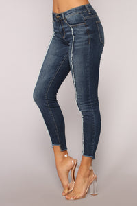 Mae Mid Rise Basic Skinny Jeans - Dark Denim