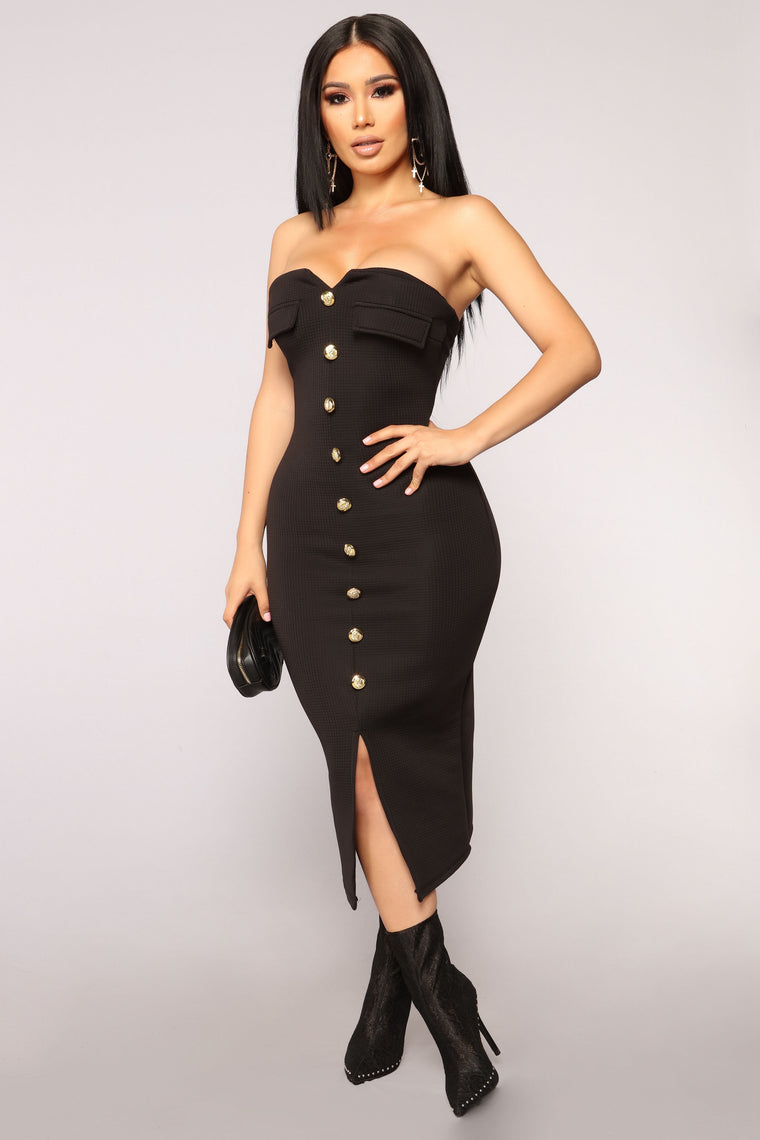 Key To My Heart Tube Dress - Black