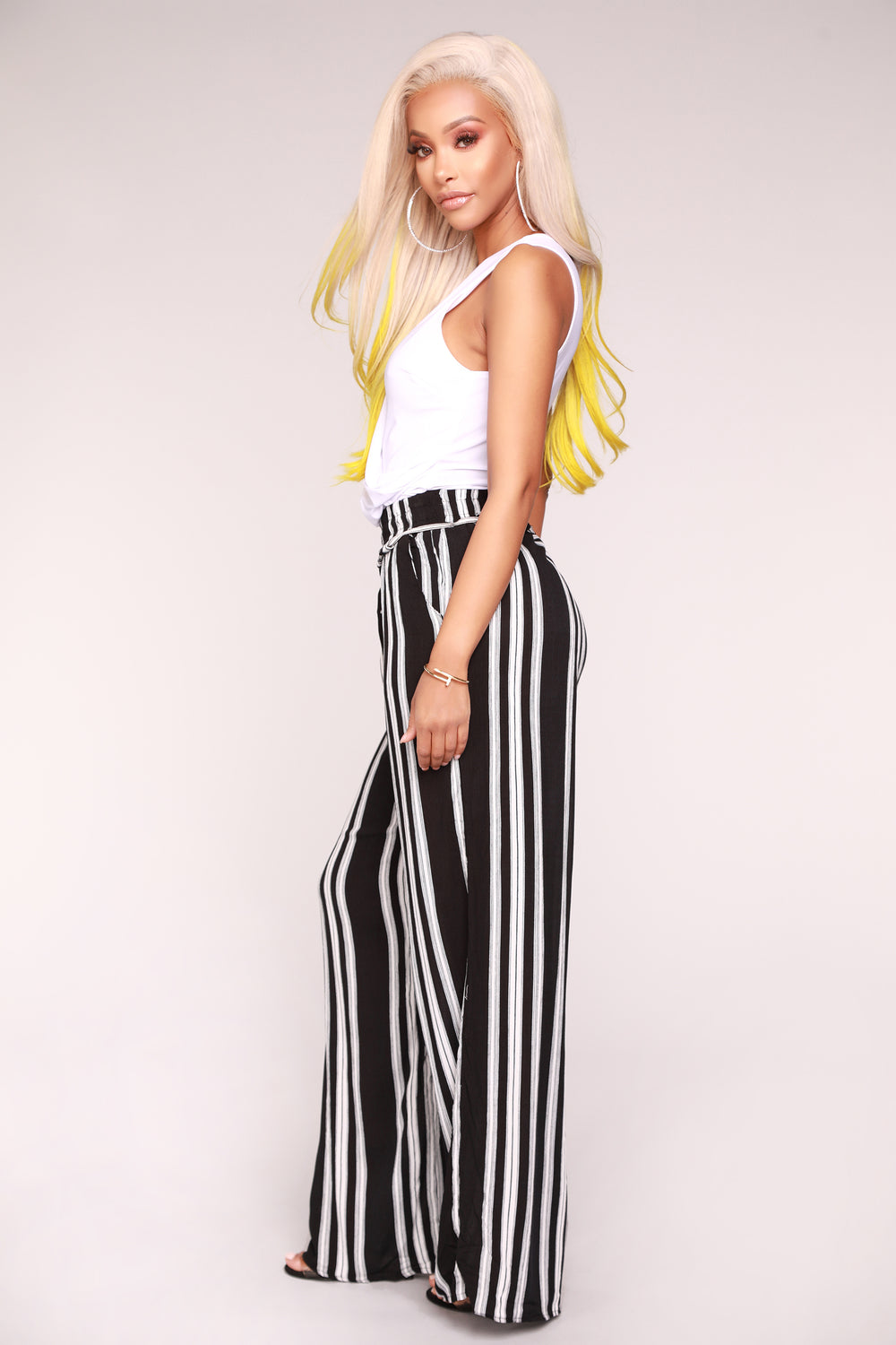 Step Up The Stripe Pants - Black
