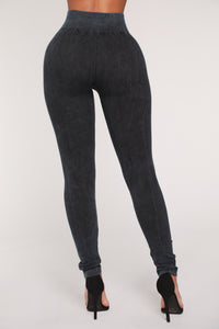 I'm Lost Distressed Seamless Leggings - Indigo Angle 6