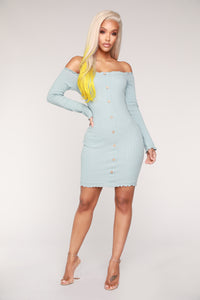 Jacklyn Off Shoulder Mini Dress - Light Blue