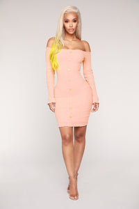Jacklyn Off Shoulder Mini Dress - Light Pink Angle 3