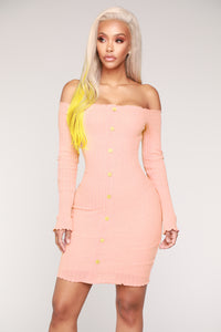 Jacklyn Off Shoulder Mini Dress - Light Pink Angle 1
