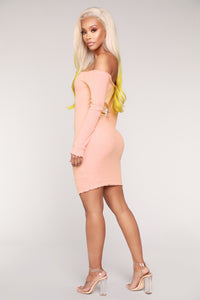 Jacklyn Off Shoulder Mini Dress - Light Pink Angle 4