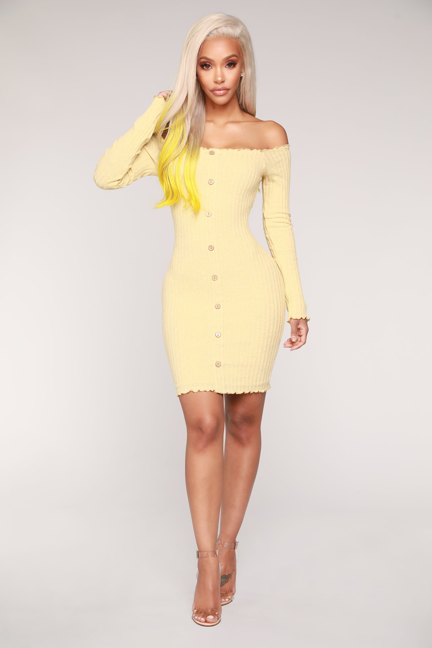 6cfcf1d7f3a7 Jacklyn Off Shoulder Mini Dress - Yellow