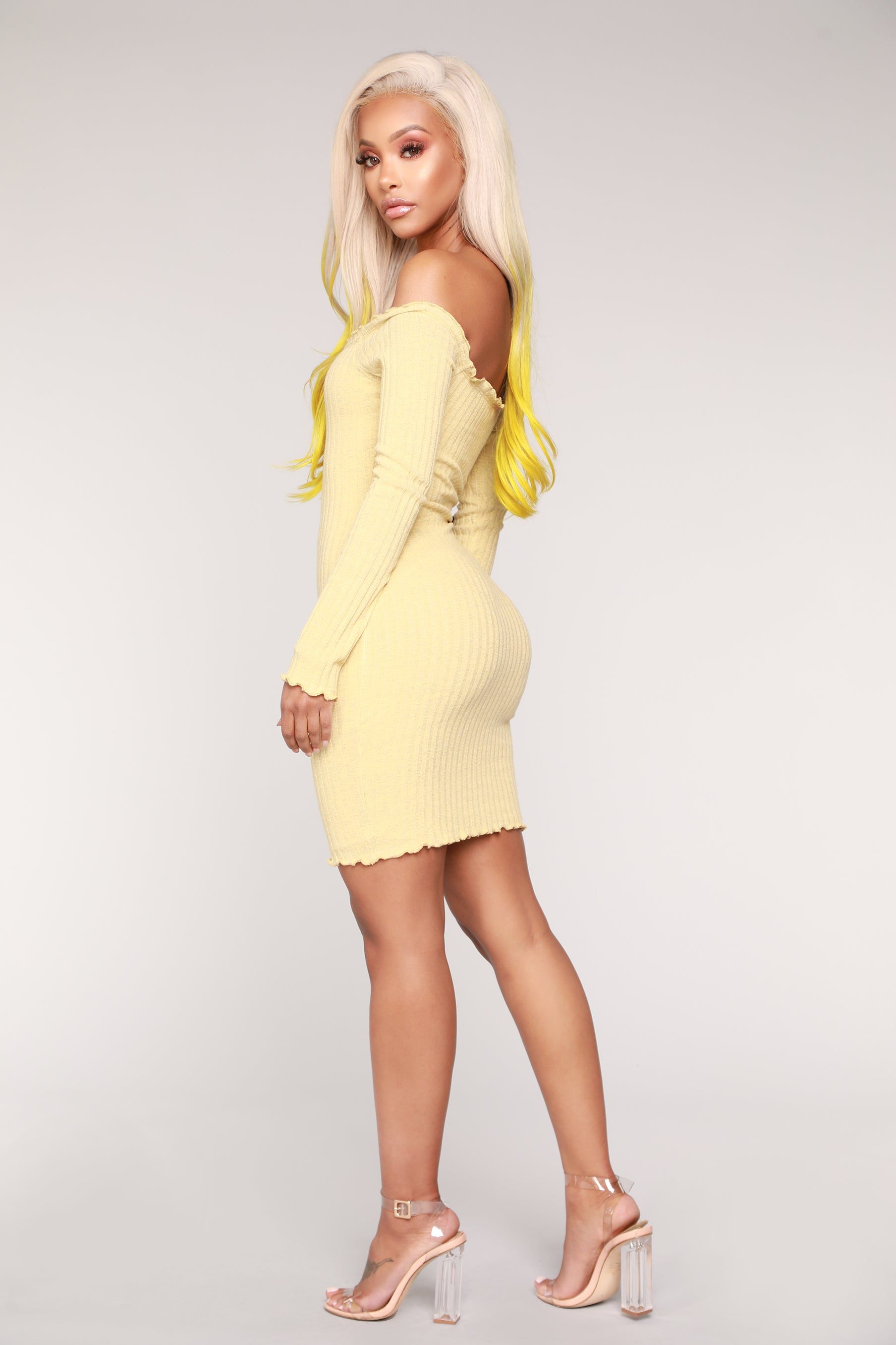 7a14e8fb6525 Jacklyn Off Shoulder Mini Dress - Yellow