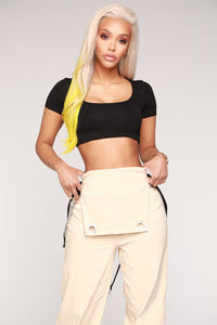 Anything But Square Short Sleeve Crop Top - Black