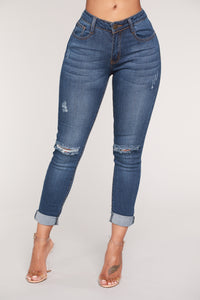 Miss Priss Distressed Jeans - Dark Denim