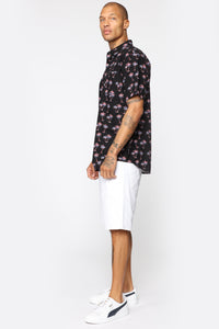 Patriotic Palm Short Sleeve Woven Top -Black/combo
