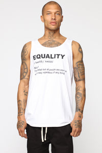 Equality Tank Top - White/Black