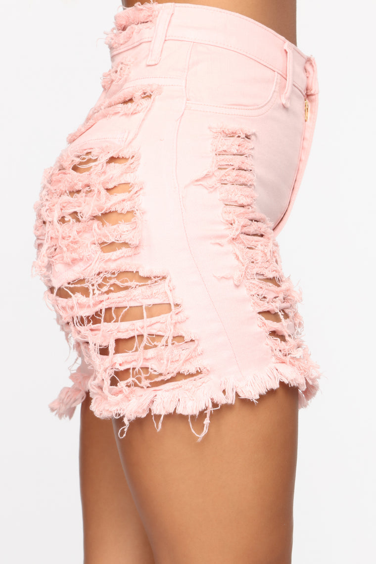 Yes Now Distressed Bermuda Shorts - Pink