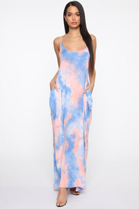 Got It In My Pocket Tie Dye Maxi Dress - Pink/Blue